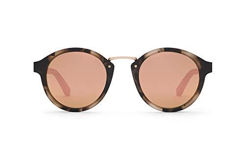 TAKE A SHOT – Runde Holz-Sonnenbrille unisex, Holz-Bügel, Metallsteg und Kunststoff-Rahmen, UV400 Schutz, rückentspiegelte Gläser, Rhea 2.0