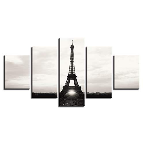 Woonkamer Home Decoration Poster 5 stuks Parijs ijzentoren schilderij HD-druk moderne modulair canvas foto's muurkunst (geen lijst) 30x40 30x60 30x80cm