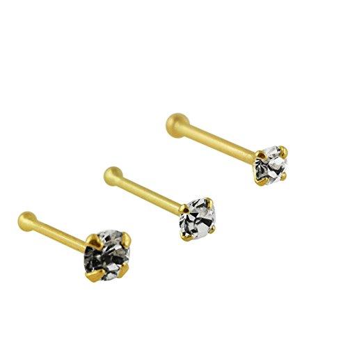 3 Stück Box-Set von 9K Stellen Feste gelbe Gold Klaue echte Kristall 22 Gauge Ende Nase Kugelbolzen Piercing