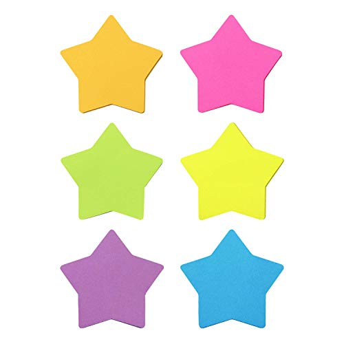 Star Shape Sticky Notes 6 Color Bright Colorful Sticky Pad 75 Sheets/Pad Self-Sticky Note Pads (6 Pads)