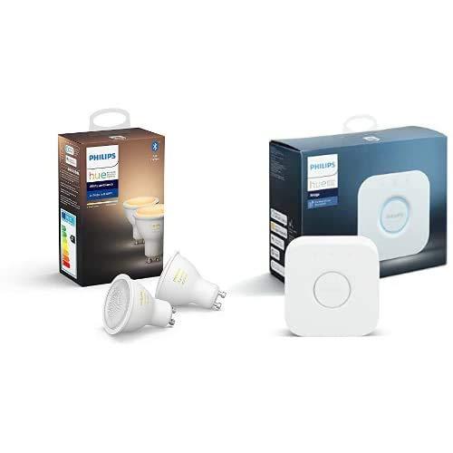 Philips Hue Pack de 2 Ampoules LED Connectées White Ambiance GU10 Compatible Bluetooth, Compatible avec Alexa + Pont de Connexion