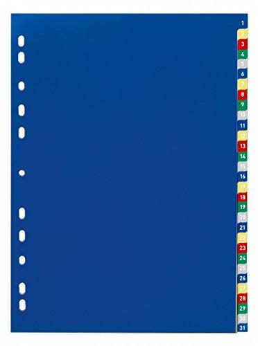 Durable 675627 Índice de números con pestañas de colores, 1-31, perforación universal, caducidad de color