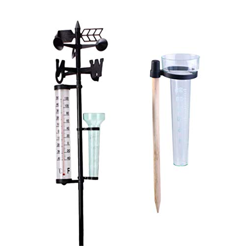 Hemoton 2 Sätze Regenmesser Windmesser Thermometer Analog 3 in 1 Wetterstation Gartenstecker für Außen Garten Hof Rasen