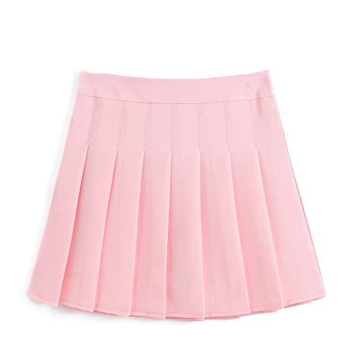 Vrouwen Mini Rok Effen Kleur Slank Dunne Hoge Taille Met Rits Veilig Klassieke Meisjes Tennis Plissé Rokken L roze