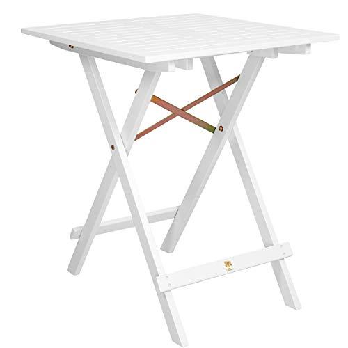 Butlers Lodge Holztisch weiß klappbar 55x55x73 cm- Klapptisch aus FSC-Holz - Kleiner Balkontisch, Gartentisch viereckig