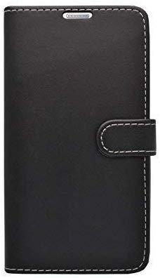 Kompatibel mit Galaxy Note 5 Schwarz Schlicht Kunstleder Buch Flip Tasche Hülle Hülle & Gratis Bildschirmschutz Gadget Boxx