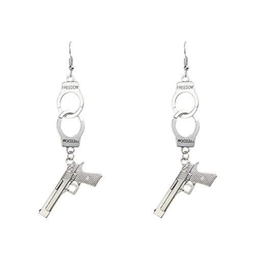 Cowboy Gun Charm Stud Earring 925 Silver Plated Pistol Guns Drop Studs Earrings