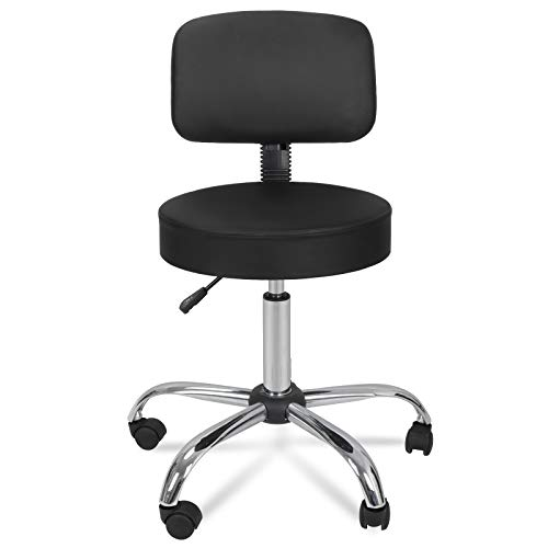 ZENY Swivel Salon Stool Chair with Back Support Adjustable Hydraulic Rolling Stool with Backrest for Beauty Barber Tattoo Massage Drafting Medical