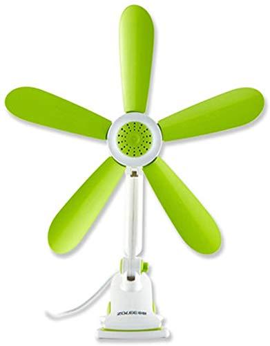TEHWDE Clip-on mini-tafelventilator, draagbare ventilator, op batterijen, 5 versnellingen, studentenslaapzaal, nachtkastje