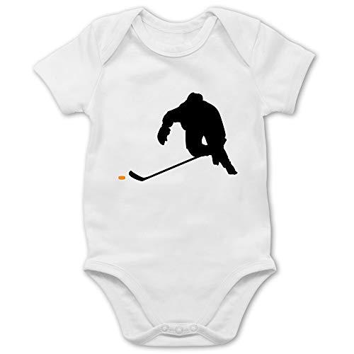 Sport Baby - Eishockey Sprint - 3/6 Monate - Weiß - Eishockey Baby - BZ10 - Baby Body Kurzarm für Jungen und Mädchen