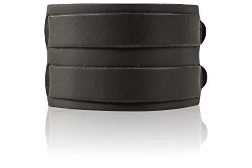 SCAMODA ® Kraftarmband aus 100% Leder, Metall-Schließe, Vintage Lederarmband für Damen und Herren, Made In Gemany (Schwarz, 2-reihig)