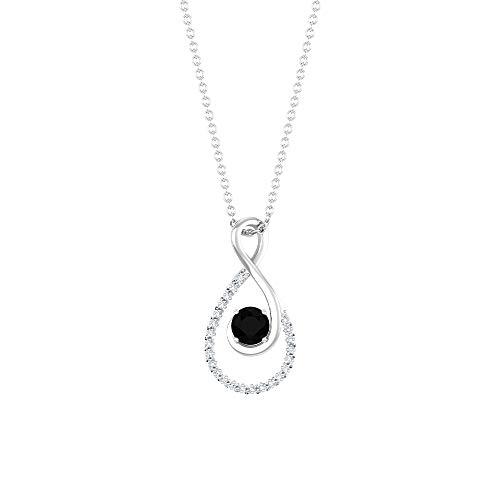 Colgante de diamante negro de 4 mm, collar de lágrima de diamante de 1/3 quilates, colgante de cadena de oro, 18K Oro blanco Con cadena