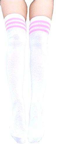 krautwear® Damen Mädchen Kinder Cheerleader College Kniestrümpfe 3 Streifen Gestreifte Overknees Über Knie-Lange Geringelte Strümpfe Geringelt Gestreift Streifen