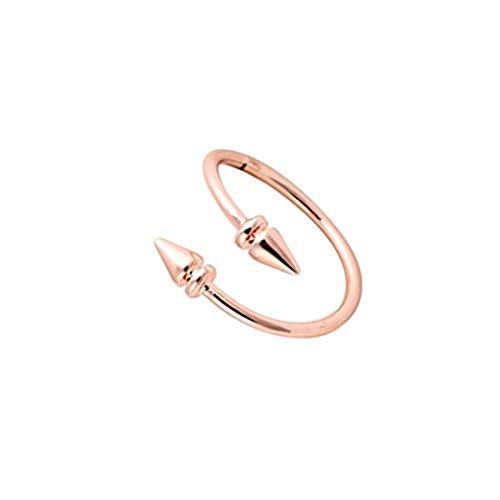 Youkeshan Anillos ajustables de doble bala con flecha, oro, plata, oro rosa, anillo simple para hombres y mujeres