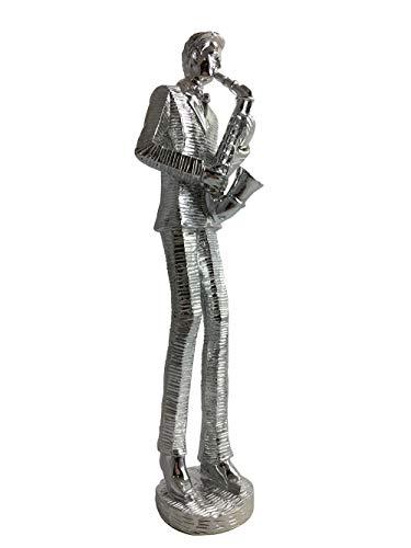 Beyond muzikant saxofoon speler porselein figuur voor huisdecoratie, porselein beeldscherm, zilveren afwerking 30 cm leuk cadeau, saxofoon
