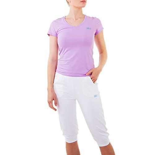 Sportkind T-shirt fonctionnel de tennis, fitness, sport avec col en V. - Violet - L