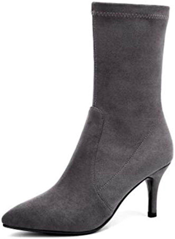 IWxez Damenmode Stiefel elastischer Stoff Herbst Stiefel Stiletto Absatz geschlossene Zehe Mitte der Wade Stiefel schwarz grau