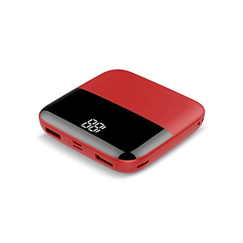 Mini power bank 10000mAh, external portable type C charger with LED display, PoverBank Double USB, compatible with iPhone, Huawei, Samsung and other devices (Color : Red)