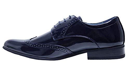 AK collezioni Scarpe uomo Class eleganti blu scuro vernice linea classica cerimonia (43)