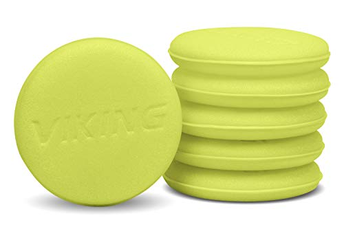 VIKING Foam Wax Applicator Pads and Cleaning Pads, Soft Car Detailing Sponges, Yellow, 4.25 in. Diameter, 6 Pack