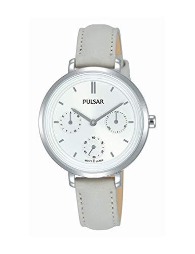 Pulsar - Reloj de piel para mujer, color gris