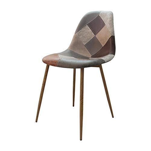 Zone – Set di 4 sedie Oraz Patchwork marrone con inserto in metallo imitazione legno