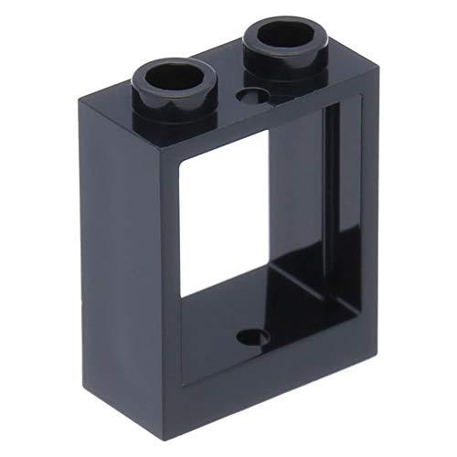 LEGO 10 x Fenster 1 x 2 x 2 Flache Vorderseite Schwarz