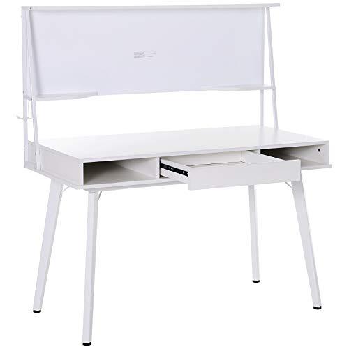 HOMCOM Schreibtisch Computertisch Bürotisch mit Tafel und Schublade Haken PP Weiß 127,5 x 60 x 133,5 cm