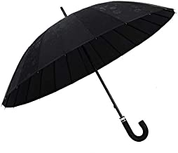 WONDER LABO》傘 レディース おしゃれ 晴雨兼用 レディース 傘 大きめ 長傘 レディース 雨傘 (ブラック)