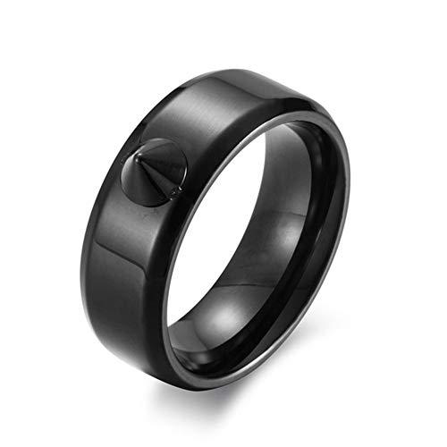 Ringe Herren Niet Kaputtes Fenster Körperring Anti-Wolf-Ring Einfach Metall Dorn Finger,Schwarz,9