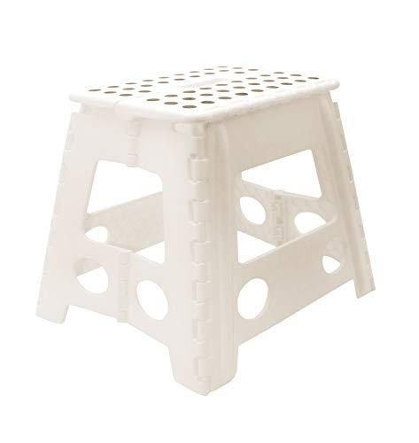 ZOLLNER Tritthocker, klappbar, stabil, ca. 30 cm hoch, Kunststoff, weiß