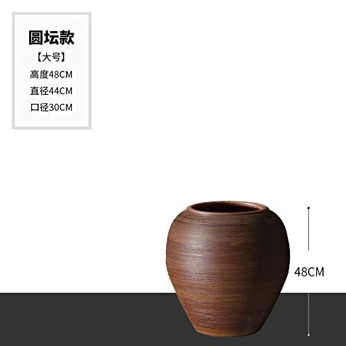 mangege Jingdezhen modernen minimalistischen Keramik Vase Wohnzimmer Blumenschmuck Tontopf Aquarium Keramik Zylinder Boden großen Blumentopf (groß) 48 * 44