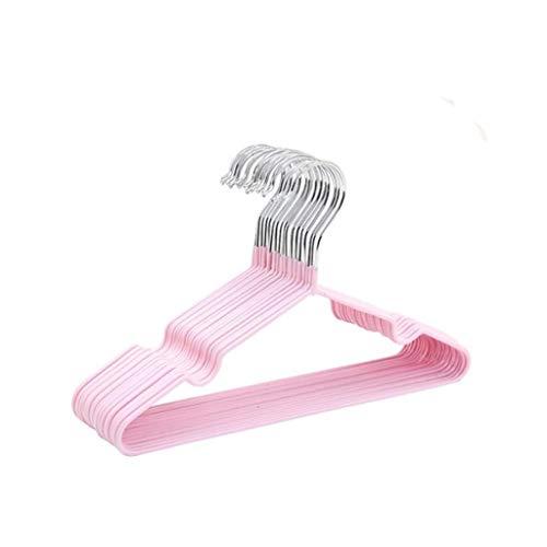 Diaod Perchas de Metal de Color sólido de 10 unids para Ropa de bebé Ranuras de Muescas Delgadas (Color : Pink)