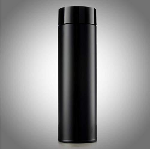 QAZW Botella de Agua de Acero Inoxidable,Termo de Acero Inoxidable,Sin BPA,Contenedores Aislados,para Deportes Al Aire Libre Senderismo Correr,Black-500ml