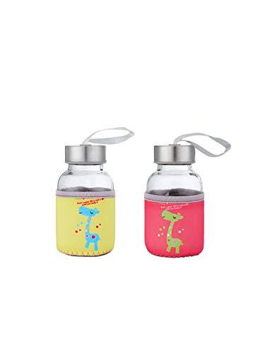Oubaiyi Botella de agua de cristal de 400 ml con diseño de flamenco, sin BPA, pequeña botella de agua caliente a prueba de fugas, portátil bebidas frías calientes