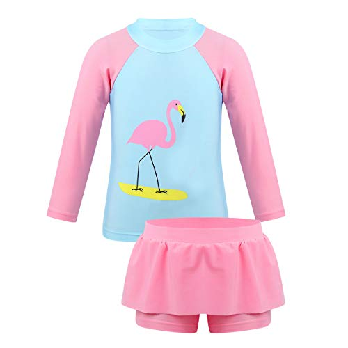 Yeahdor Kinder Mädchen Tankinis Flamingo Bedruckte Badeanzug UPF 50+ Rashguard Longsleeve Top & Badeslip mit Rüschen Rock Gr. 92-128 Rosa 4-5 Jahre