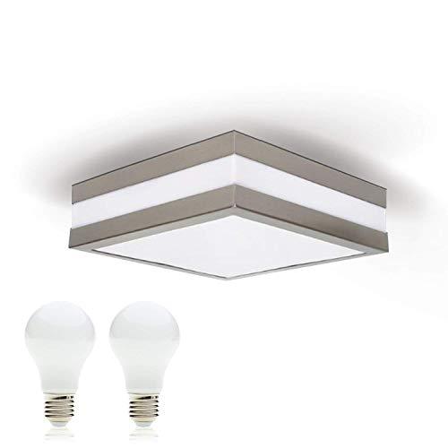 Provance E27 Plafonnier LED pour salle de bain 230 V IP44 avec 2 ampoules LED 10 W Blanc chaud Éclairage extérieur Éclairage extérieur Lampe de salle de bain/salle de bain/salle de bain Carré Carré
