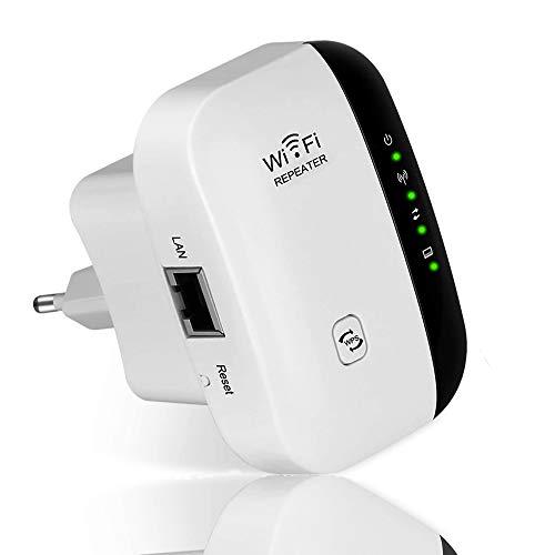 MISSJJ Repetidor Señal WiFi, Repetidor WiFi Largo Alcance de 300Mbps, Extensor de Red WiFi de Velocidad 2.4GHz, Antena de Puerto LAN Incorporada, Compatible con Todos los Enrutadores y Fibra, Blanco