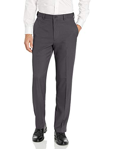 Haggar Men's Cool 18 PRO Classic Fit Flat Front Expandable Waist Pant, Charcoal Heather, 38Wx32L