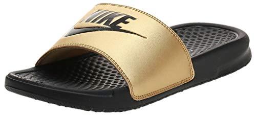 Nike Benassi Just Do It, Sandal Mujer, Negro (Black/Black/Metallic Gold), 38 EU