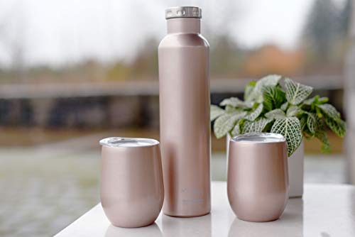 FIFTY/FIFTY Wine Growler Water Bottle, Narrow Mouth, Seven Fifty, 750ml/25 oz, Champagne Gold