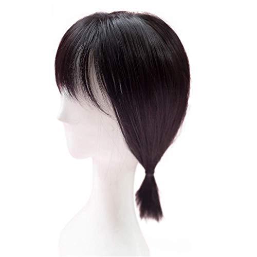 Deckhaar-Teil von Remeehi, glattes, synthetisches, Haarteil zum Reinklemmen, Deckhaar mit Stirnfransen für Frauen