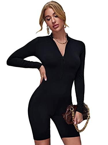 SOLY HUX Women's Mock Neck Long Sleeve Zipper Front Short Jumpsuit Rompers Black M