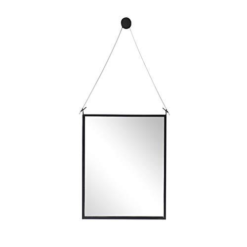 PIGE Espejo de baño Europeo, Espejo Minimalista Moderno montado en la Pared del Marco del Hierro labrado - Espejo de Pared Decorativo de Cristal (Color : Negro, Tamaño : 80x100cm)