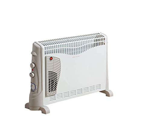 Daewoo 2000W Convector Heater with Turbo Function - 3 Heat Settings, Portable Carry Handle, Adjustable Thermostat & Timer with Fan Setting - White