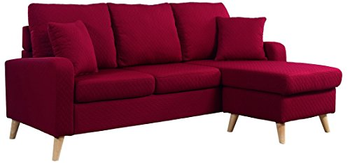 Divano Roma Furniture Middle Century Modern Linen Fabric Small Space Sectional Sofa with Reversible Chaise (Red)