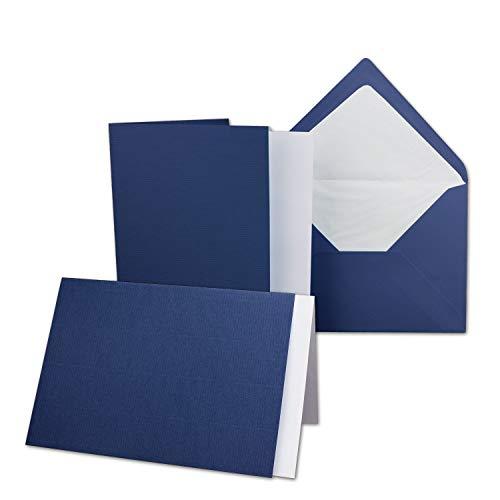 NEUSER PAPIER Lot de cartes/cartes pliantes/enveloppes DIN B6 en crème/chamois // côtelé avec insert 50 Sets bleu foncé