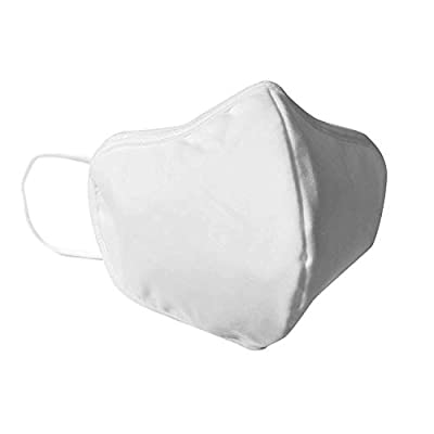 Premium Water Resistant Filter Face Mask - Washable Fabric Face Masks, Reusable Protective Facemask, Soft Earloop, Breathable Mouth and Facial Dust Covering. Protection for Men Women (White Medium) by