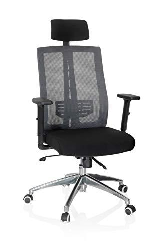 Preisvergleich Produktbild hjh OFFICE 719887 Bürostuhl Versus PRO Stoff Schwarz / Grau Drehstuhl ergonomisch,  Kopfstütze & Armlehnen verstellbar