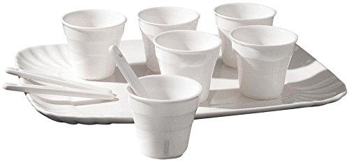 SELETTI Set: 6 Bicchierino Caffe'+6 Palettine+1 Vassoio Cm.18,5X27 in Porcellana